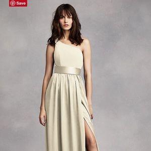 Champagne One Shoulder dress with satin sash